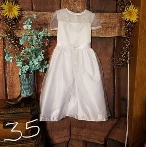 New Girls SZ 10 white Tea length dress
